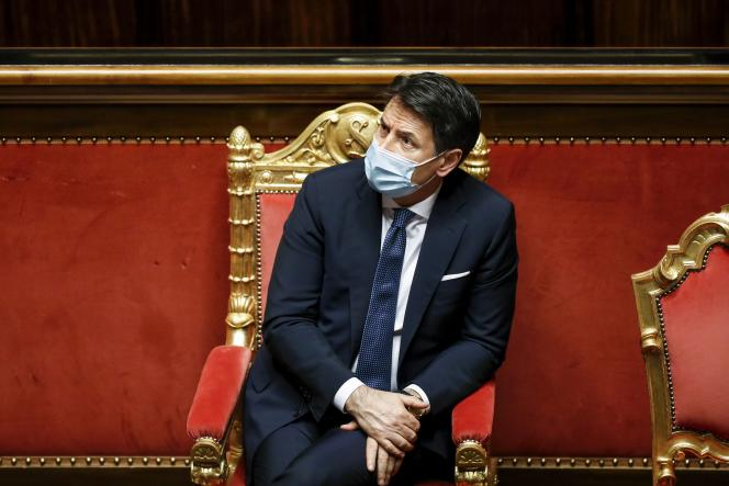 Italian Prime Minister Giuseppe Conte is attending the debate ahead of the vote of confidence in the Senate on January 19, 2021, at the Palazzo Madama in Rome.