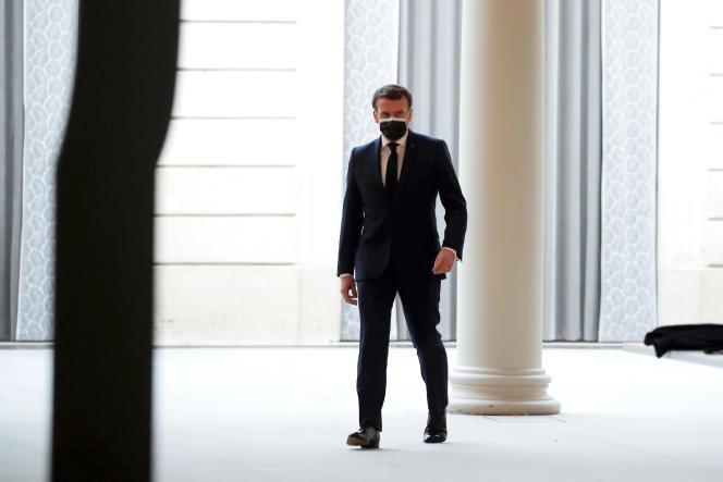 Emmanuel Macron at the Elysee Palace, February 16.