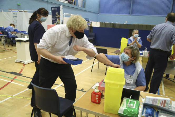 Boris Johnson, the British Prime Minister, during a visit to a vaccination center in Cwmbran, south Wales, Wednesday February 17, 2021.