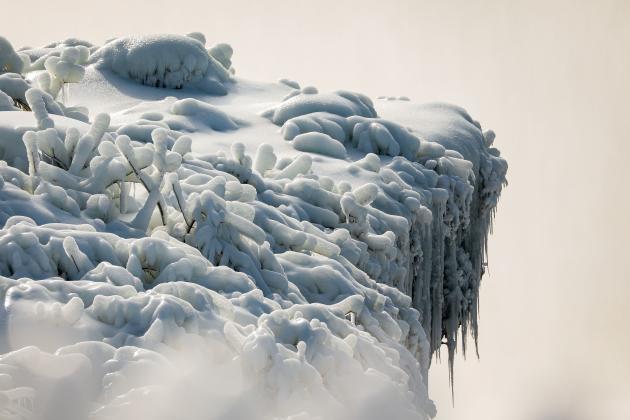 Frozen rim of the Horseshoe Falls (or
