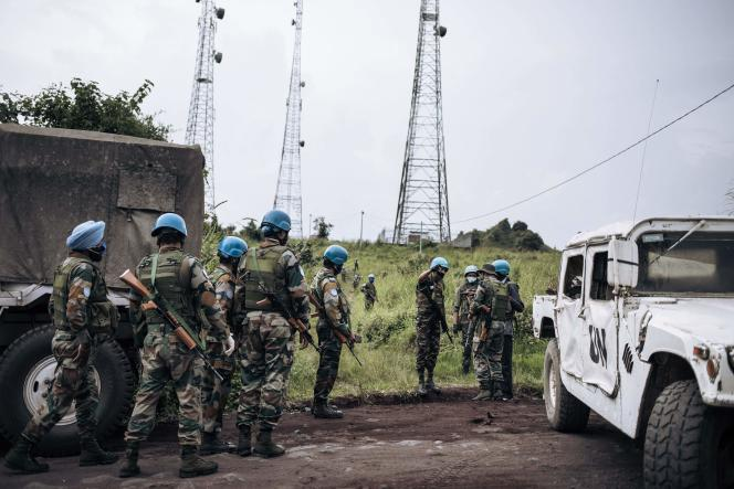 UN soldiers at the edge of Virunga National Park, near the village of Kibumba, 25 km from Goma, where the Italian Ambassador to the Democratic Republic of the Congo, his bodyguard and his driver were killed, when their car was shot at while on a field trip on February 22, 2021.