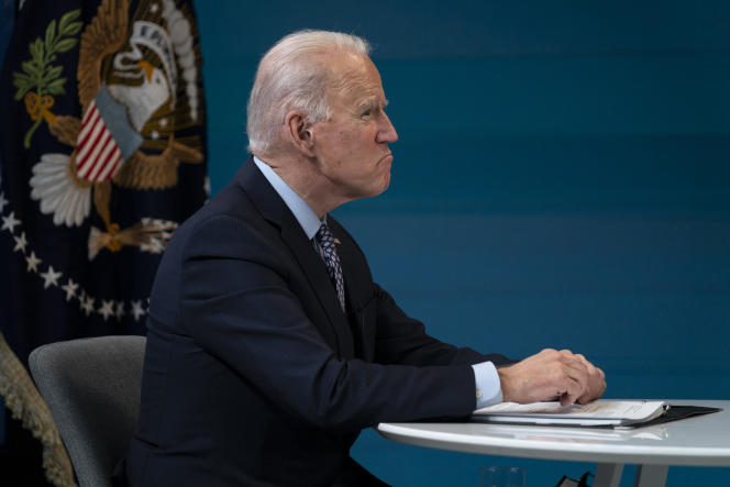 US President Joe Biden at a virtual meeting of the National Association of Governors February 25 in Washington.