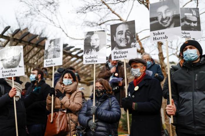 Rassemblement contre l'antisémitisme et le racisme, sur la place Ilan Halimi, à Paris, le 14 février.