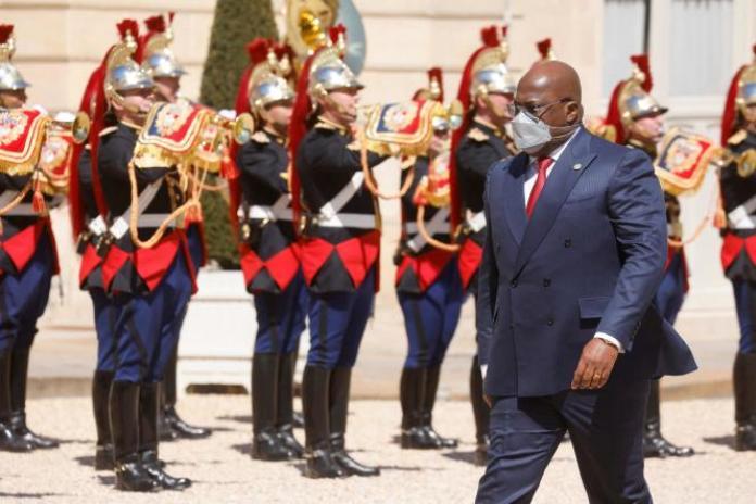 Le président de la République démocratique du Congo, Félix Tshisekedi, en visite à l'Elysée, à Paris, le 27 avril.
