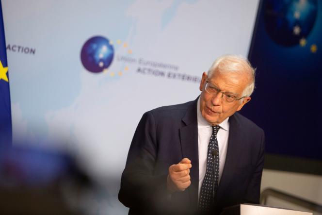Le haut représentant de la politique étrangère de l'Union européenne, Josep Borrell, lors d'une conférence de presse à Bruxelles, en Belgique, le 26 avril.