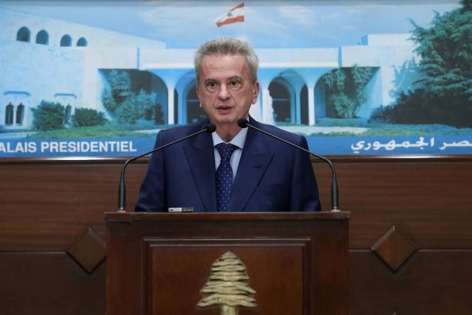 Le gouverneur de la banque centrale du Liban, Riad Salamé, lors d'une conférence de presse àBaabda, le 3 juin 2021.