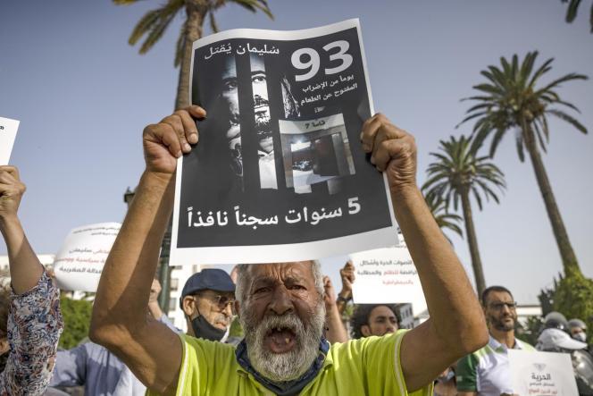 Rassemblement de soutien au journaliste Soulaimane Raissouni, à Rabat, le 10 juillet 2021.
