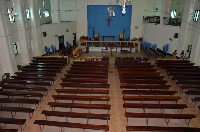 L'intérieur de l'ancien cinéma Juba Picture House transformé en église. Ici, en 2018.