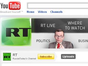 Страница Russia Today на сайте YouTube