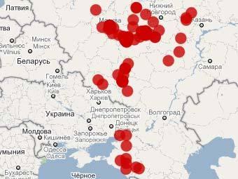 Карта пожаров. Изображение с сайта russian-fires.ru