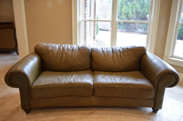 dark green leather sofa wooden bench style used in great condition for sale atlanta