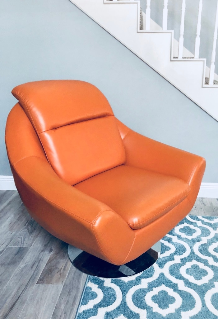modern leather accent chairs clear desk chair ikea used contemporary swivel orange for sale in dallas letgo