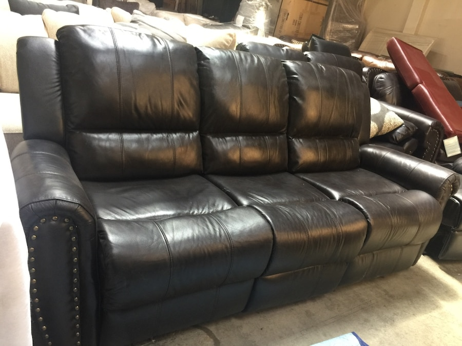 reclining sofa with nailhead trim dfs patchwork gumtree beautiful new recliner from furniture of america only 699
