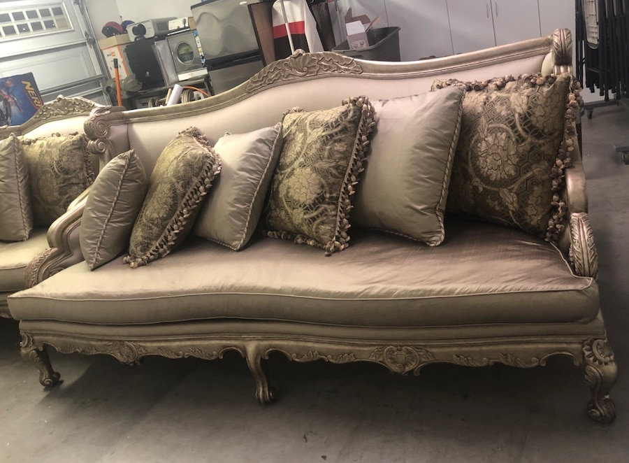 formal living room end tables yellow gold paint color used 1 sofa i large chair coffee table and italian made for sale in san jose