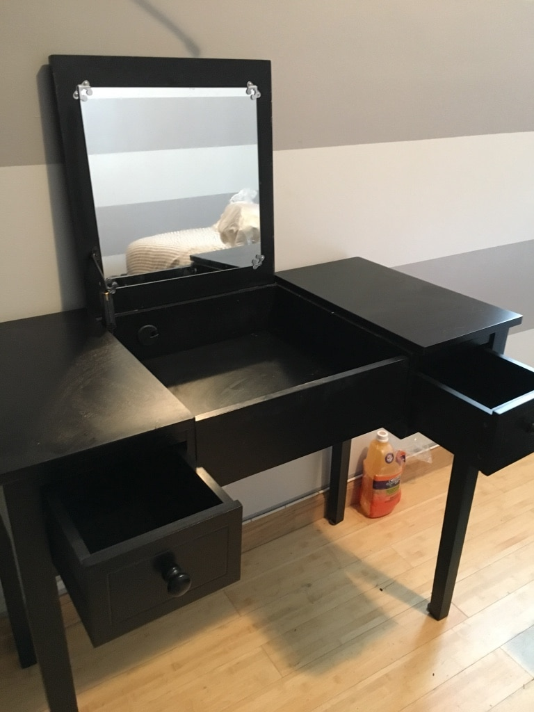 Used Black Vanity Desk With Mirror And Drawers In York
