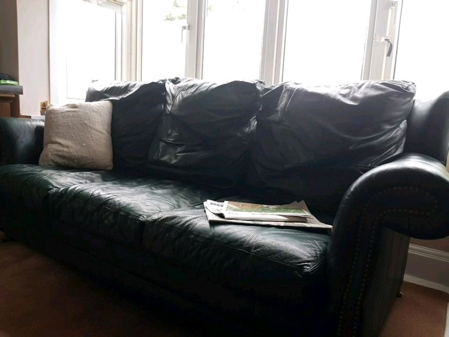 dark green leather sofa knoll replica used bed for sale in greater london letgo