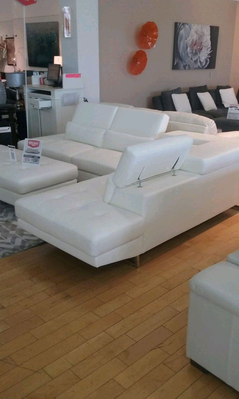 white leather sectional sofa with ottoman brown what color coffee table used 2 pc w large for sale in