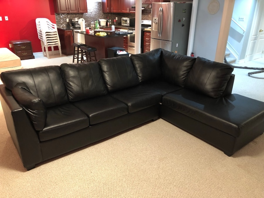 leather sectional sofas cherry wood sofa tables used black couch for sale in brampton letgo