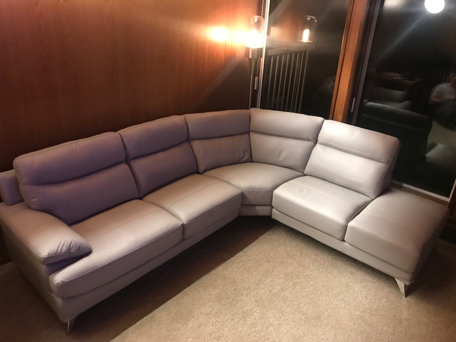 white leather sectional sofa with ottoman flexsteel belmont power reclining used for sale in maple