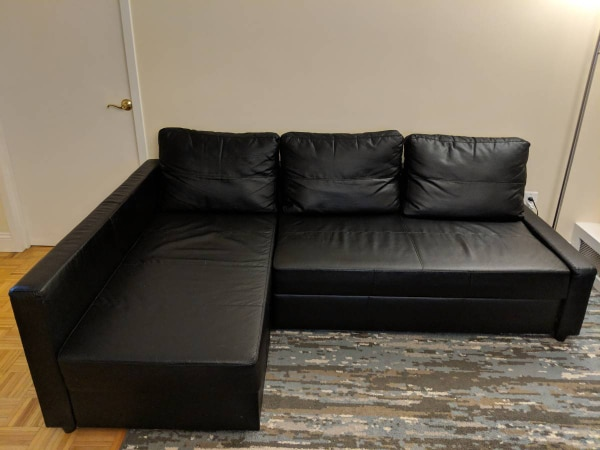 ikea sofa sleeper sectional loveseat chair layout friheten 3 seat w storage black patent leather