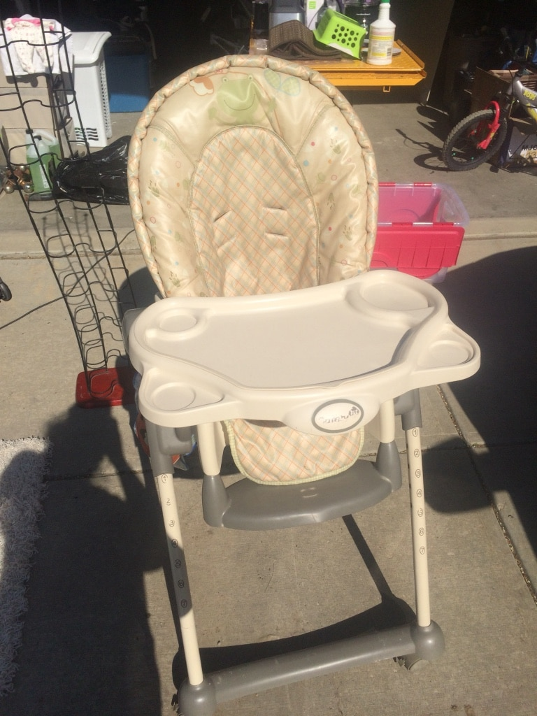 padded high chair world market adirondack chairs peacoat used beige with tray for sale in edmonton letgo