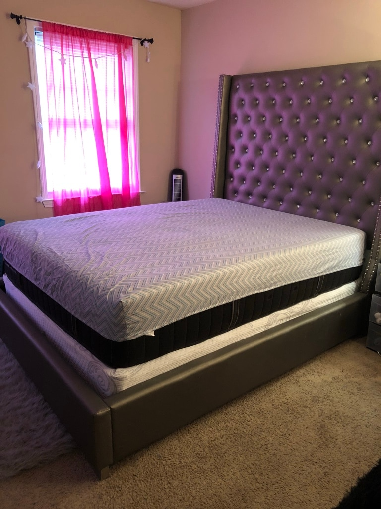brand new gray upholstered bed frame with rhinestones with new mattress and box spring
