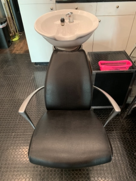 shampoo sink and chair low chairs used 2 hair salon sinks with for sale in newyork