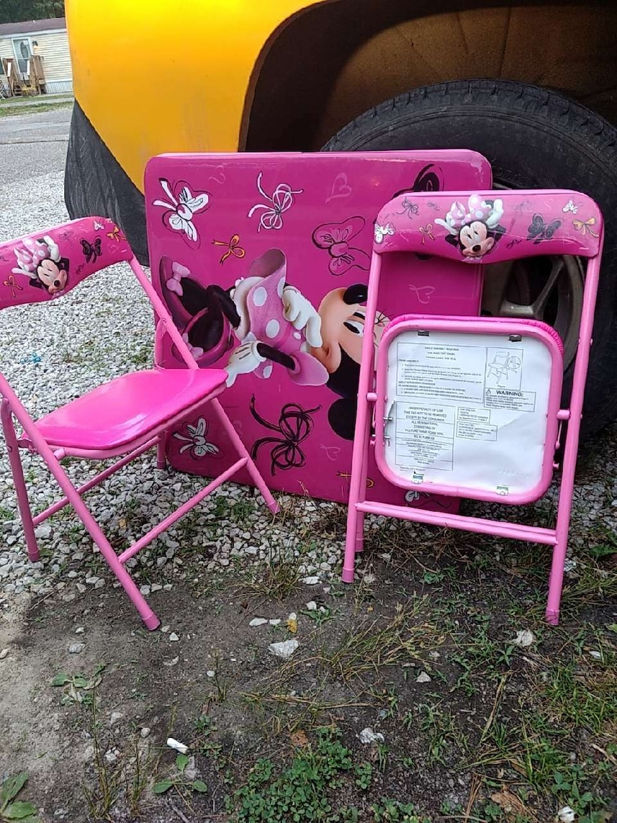 minnie mouse folding chair table and chairs gumtree belfast used pink for sale in terre homeother haute