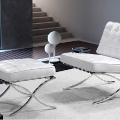 Barcelona Chair Used Lounge Beach White Leather Modern Design For Sale In Newport Letgo