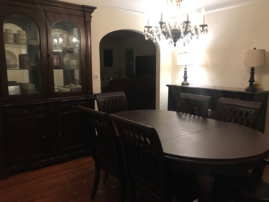 dining room sets 6 chairs white johannesburg begagnad raymour flanigan cherry wood set server china cabinet table with