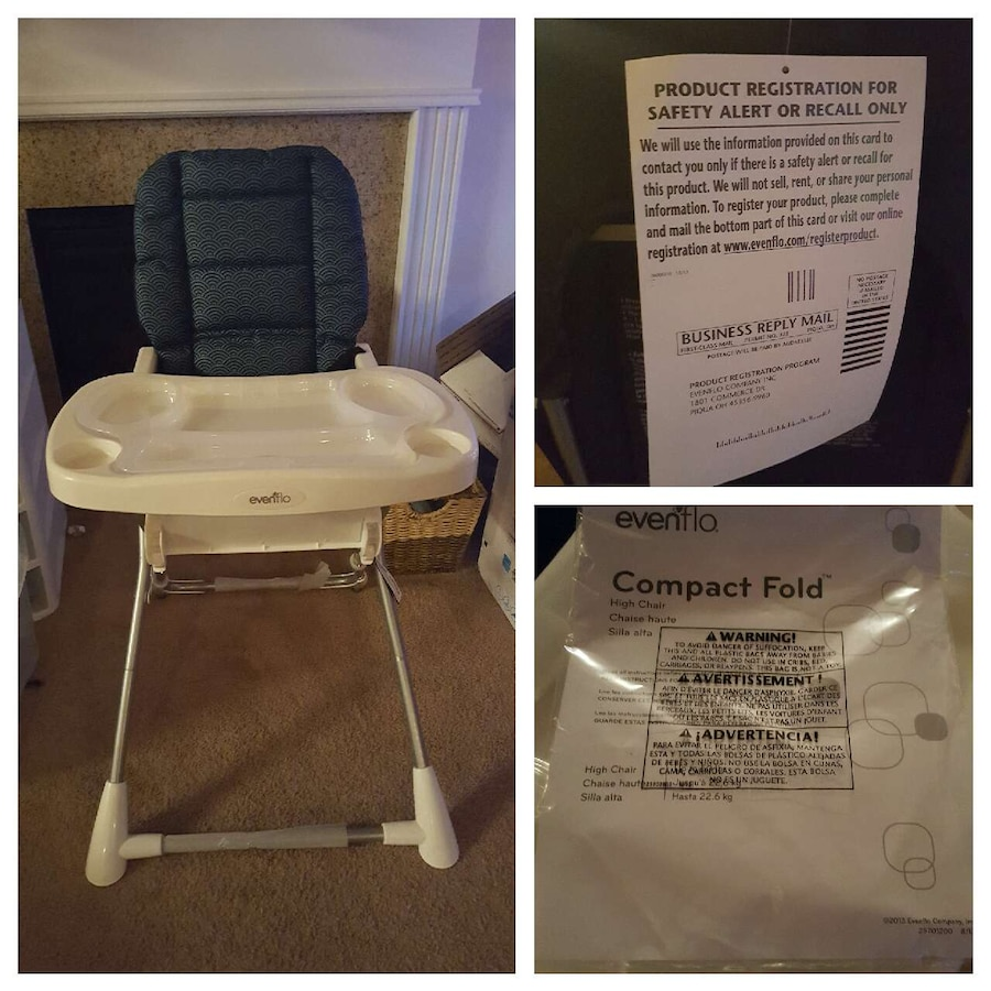 evenflo easy fold high chair air bag used black and white compact for sale in dallas next listing previous