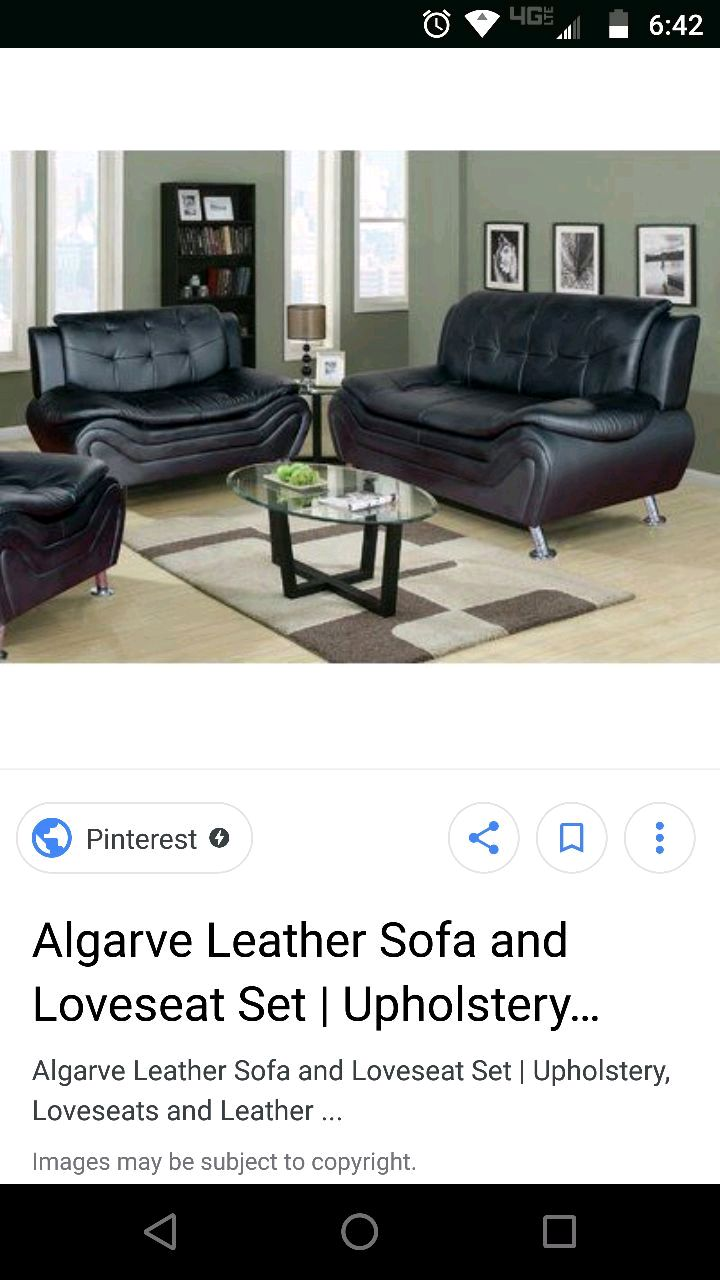 algarve leather sofa and loveseat set mission style table cherry used brown fabric 2 seat for sale in yakima letgo black