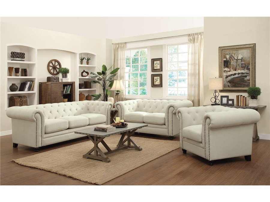 beautiful sofa sets lime green leather bed new 2pc tufted set with nailhead trim 1sofa 1loveseat in cream