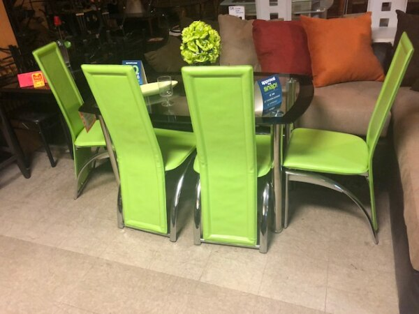 lime green chairs for sale party city chair covers used glass table with four new in atlanta