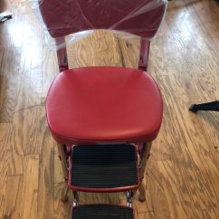 Cosco Retro Counter Chair Step Stool Distressed Leather Armchair Uk Used 11120red1e Red New Already Assembled