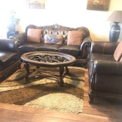 Set Of Leather Sofas Green Velvet Sofa Bed Uk Used Black With Coffee Table For Sale In Surrey Letgo
