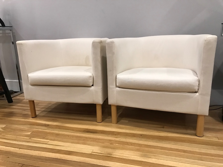 Two white barrel chairs in New York  letgo