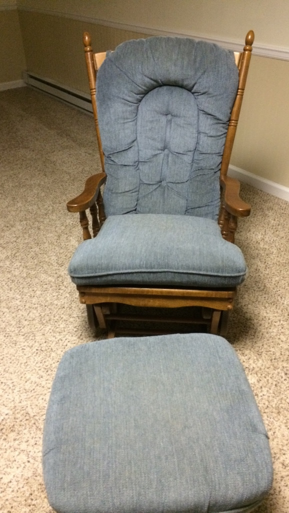 blue glider chair slip covered used ad brown wooden base for sale in lower homehome and garden providence