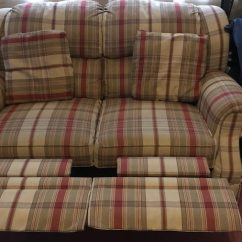 J M Paquet Sofa Chesterfield Chaise Used Brown And Red Plaid Loveseat For Sale In Miller Place Letgo