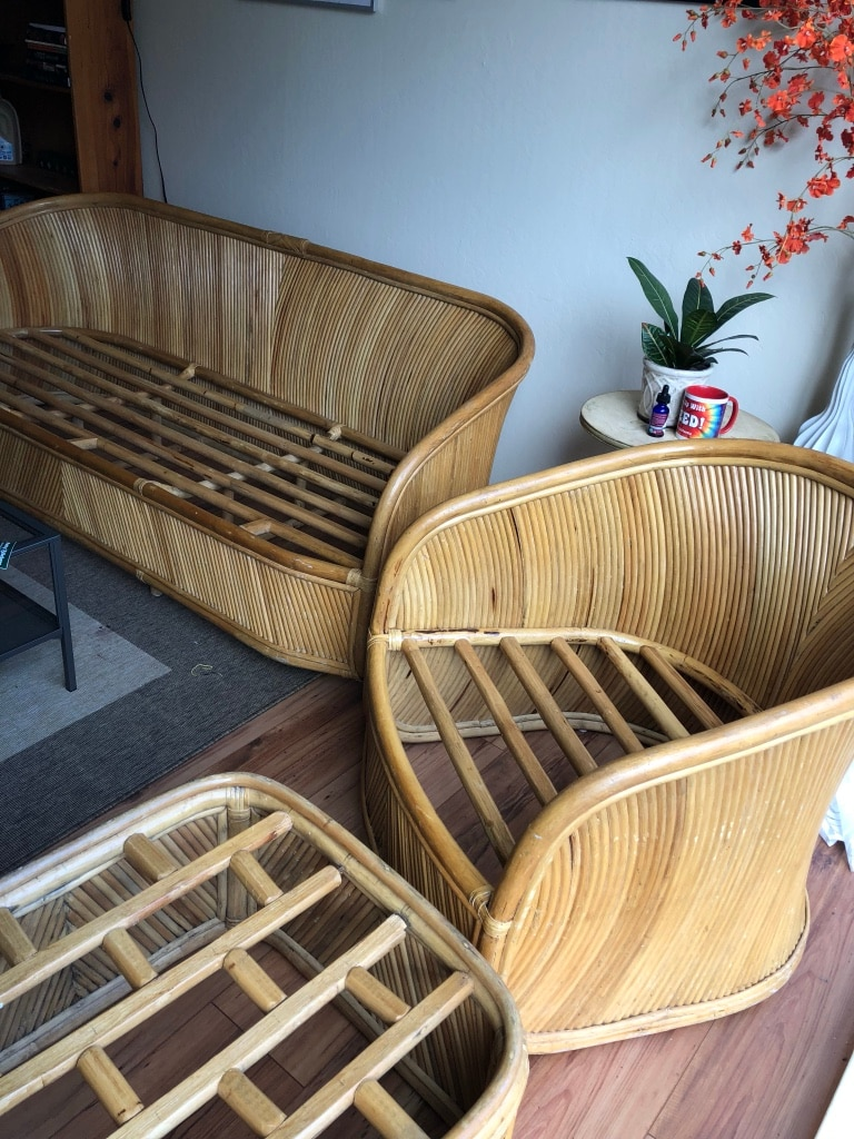 bamboo couch and chairs beach kitchen table begagnad chair ottoman till salu i oakland letgo