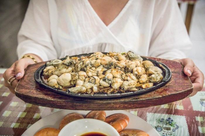 [屏東美食]田中漁夫/人與人的連結就靠這盤了,這盤滿到跟山一樣的鐵板鮮蚵只要250元!?太ㄅ一ㄤˋ了吧!
