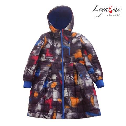 Пальто детское стеганое с принтом на девочку