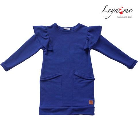 Платье-кокон детское синее с воланами