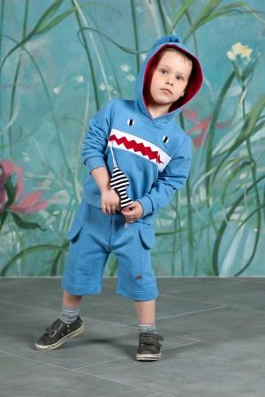 Голубые детские шорты для мальчика, из футера
