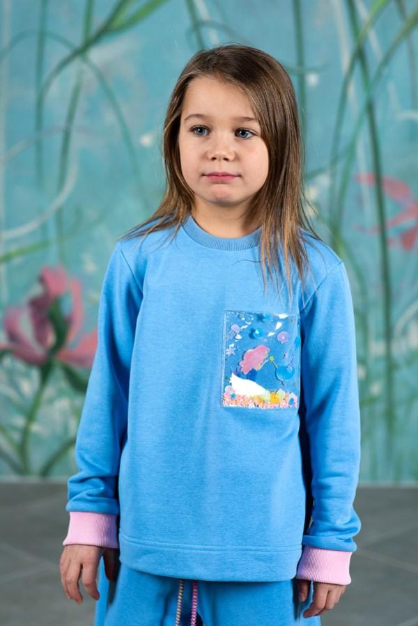 Голубой детский свитшот для девочки