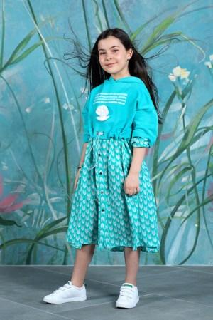Платье бирюзовое комбинированное из футера и вискозы  Sea shells