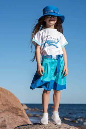 Бирюзово-синяя детская юбка со складками