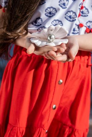 Кораллово-красная детская юбка с оборками