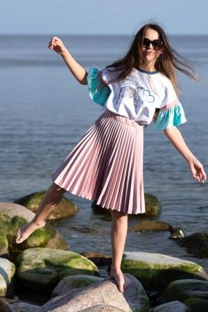 Пудро-розовая детская плиссированная юбка для девочки