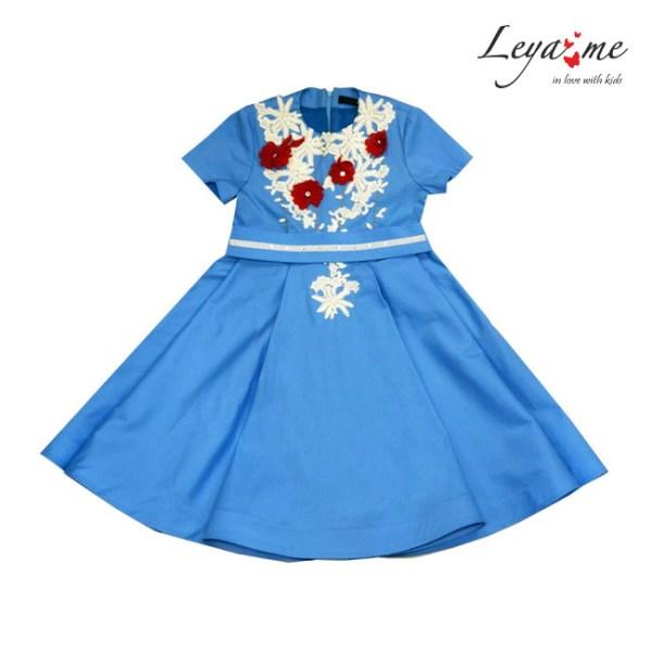 Платье детское голубое-бабочка с кружевом